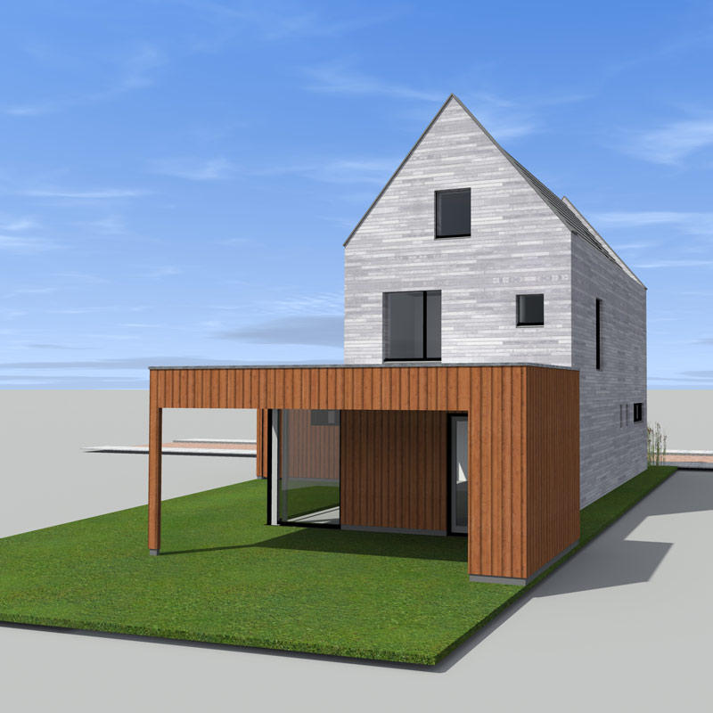 Stadsvilla Enschede Boddenkamp achtergevel 3D