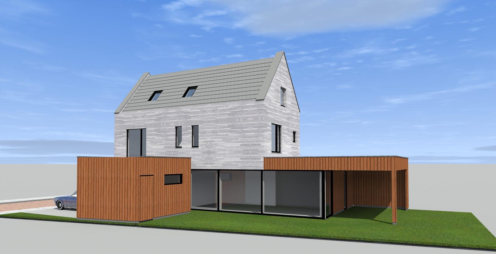 Stadsvilla Enschede Boddenkamp linkerzijgevel in 3D