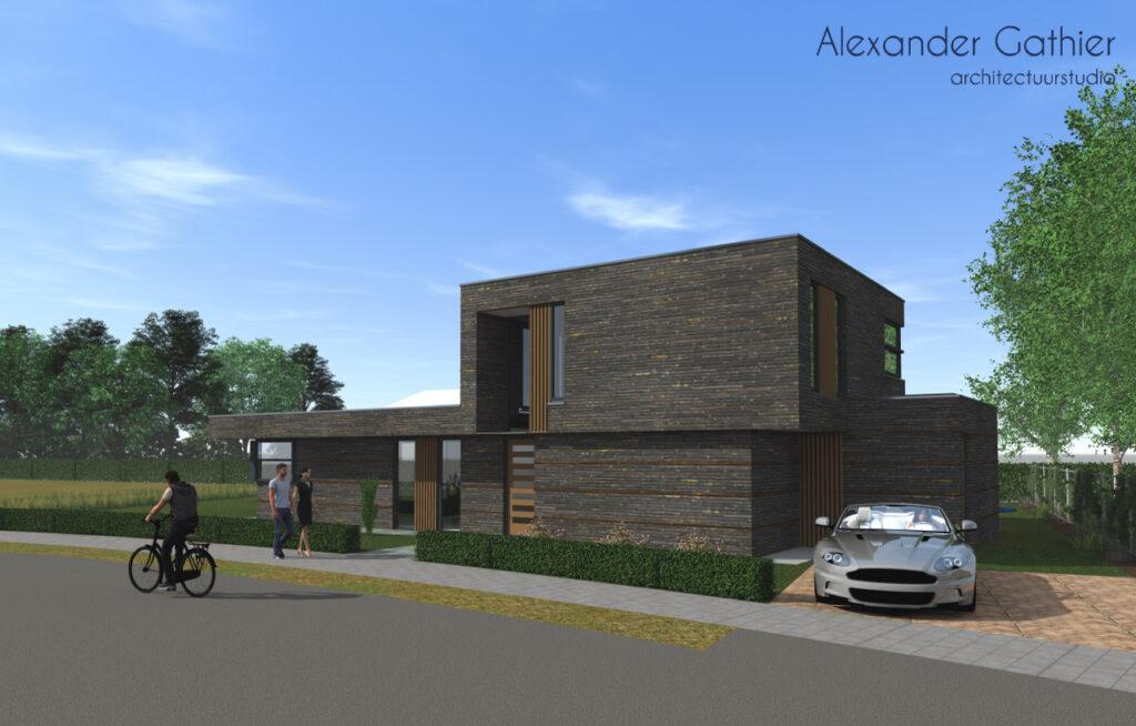 Een voorbeeld van een ontwerp van een woning die op 't Vaneker gebouwd zou kunnen worden.