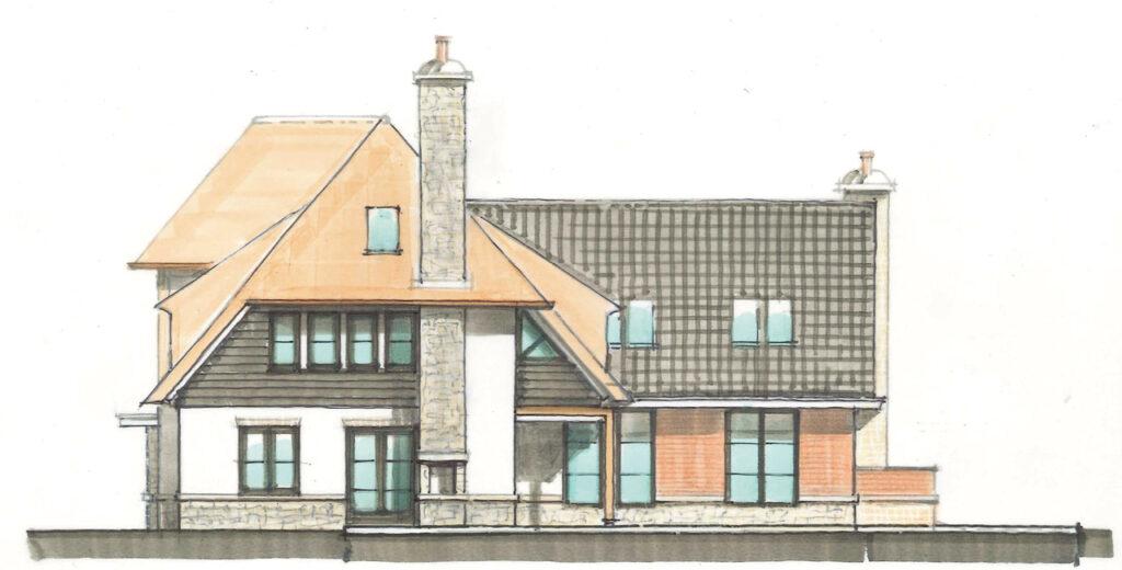Voorbeeld van ontwerp villa met rieten kap voor 't Vaneker, zijaanzicht