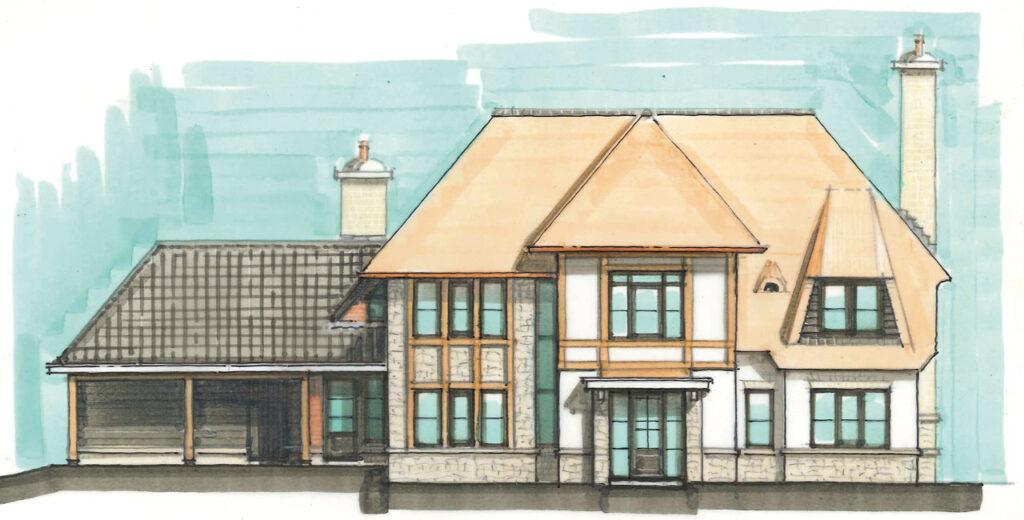Vooraanzicht van een ontwerp van een rietgedekte villa voor op 't Vaneker